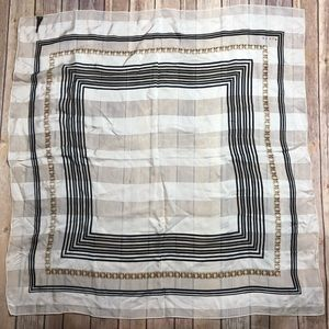 Vintage Echo Scarf White Stripes Silk Gold Chain